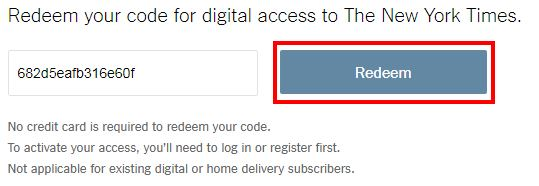 Redeem your code for digital access to the New York Times screenshot