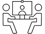Meeting Room quick link icon with two people sitting at table with screen
