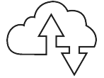 Stream and Download quick link icon showing cloud and arrows signifying downloading