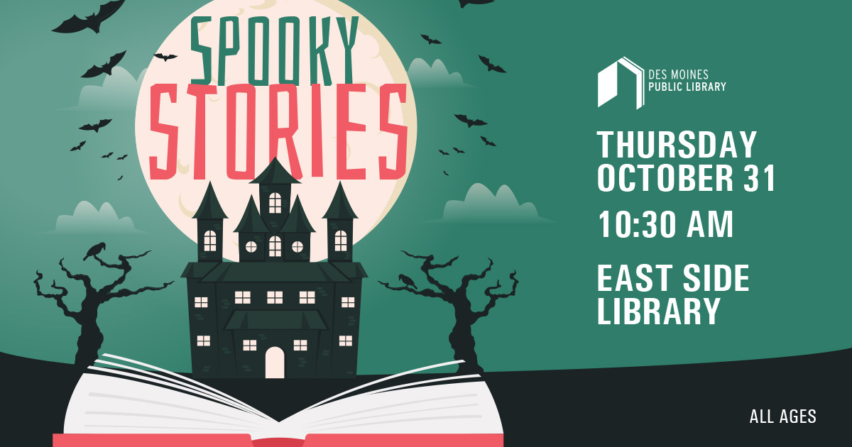 Poster that states Spooky stories with date and time