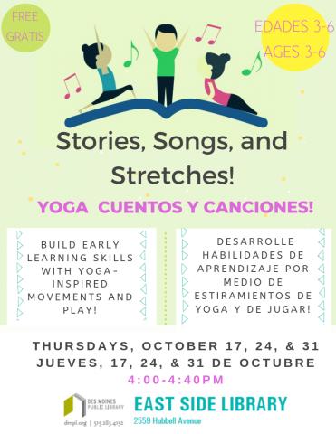 Stories Songs And Stretches Yoga De Cuentos Y Canciones Bilingue Des Moines Public Library