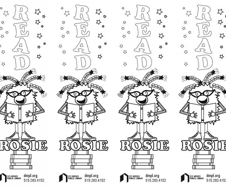 Rosie Bookmark for coloring