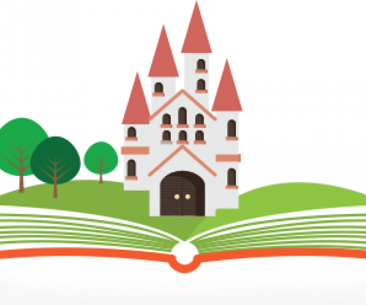 Book graphic with castle and trees popping out of the pages